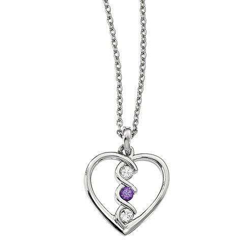 Survivor Collection Genuine Clear & Purple Swarovski Topaz Sterling Silver Heart of Inspiration Necklace