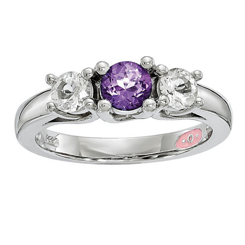 Survivor Collection Genuine Clear & Purple Swarovski Topaz Sterling Silver Pamela Ring