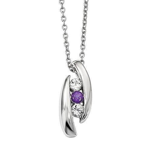 Survivor Collection Genuine Clear & Purple Swarovski Topaz Sterling Silver Pillar of Strength Necklace