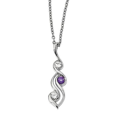 Survivor Collection Genuine Clear & Purple Swarovski Topaz Sterling Silver Spirit Necklace