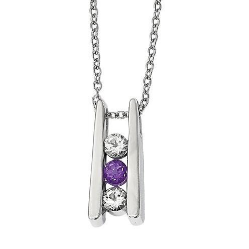 Survivor Collection Womens Purple Topaz Sterling Silver Pendant Necklace
