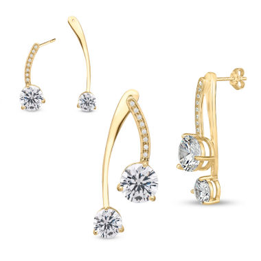 jcpenney.com | White Cubic Zirconia Gold Over Silver Drop Earrings