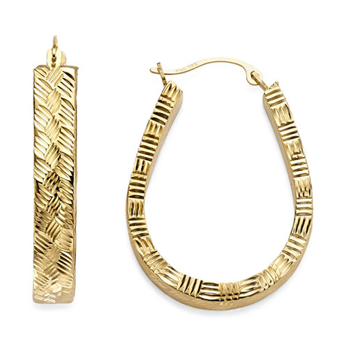 Gold Opulence 14K Gold Over Diamond Resin Diamond-Cut Basketweave Pearshape Hoop
