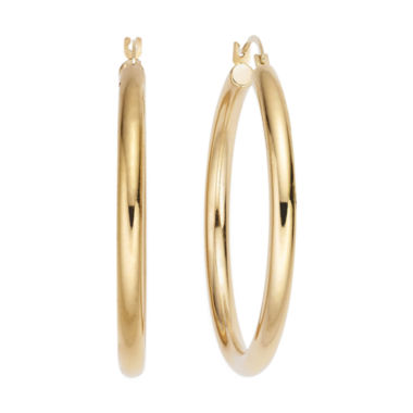 jcpenney.com | GOLD OPULENCE™ 14K GOLD OVER DIAMOND RESIN™ POLISHED HOOP EARRINGS