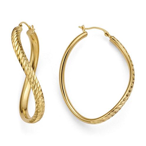 Gold Opulence 14K Gold Over Diamond Resin Diamond-Cut Wave Hoop Earrings