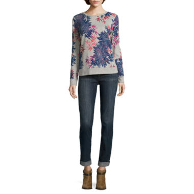 jcpenney.com | Liz Claiborne Long Sleeve Floral Sweatshirt and Cify-Fit Boyfriend Skinny Jean