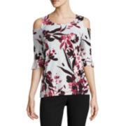 Worthington 3/4 Sleeve Scoop Neck T-Shirt