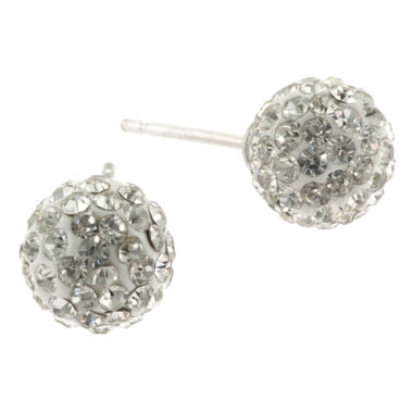 jcpenney.com | Silver Treasures White Crystal Stud Earrings