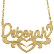 Personalized 14K Gold Over Silver Nameplate Heart Pendant Necklace