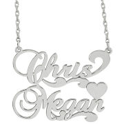 Sterling Silver Personalized Couples Nameplate Pendant Necklace