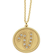 14K Gold Over Silver Initial Pendant Necklace