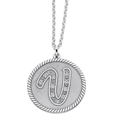 Sterling silver initial pendant personalized sterling silver initial pendant necklace aloadofball Images