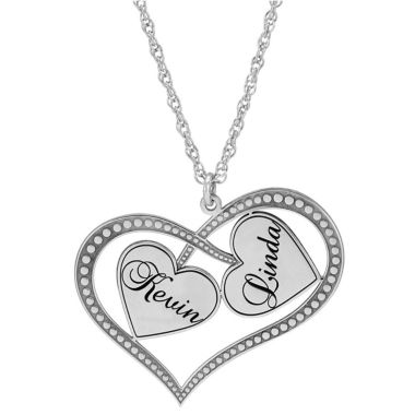 jcpenney.com | Personalized Sterling Silver Double Heart Couples Pendant Necklace