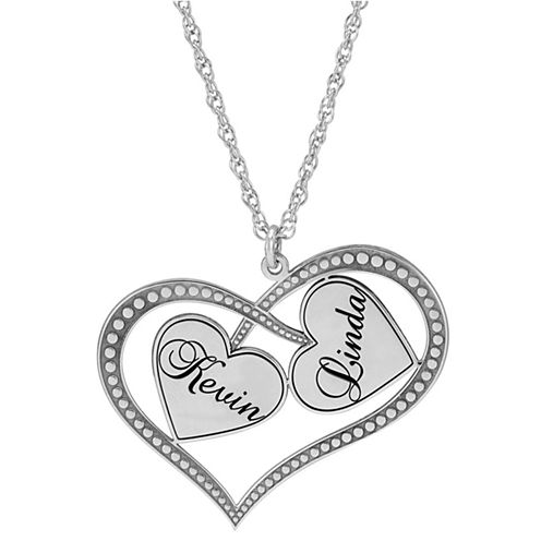 Personalized Sterling Silver Double Heart Couples Pendant Necklace