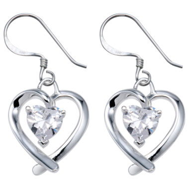 jcpenney.com | Sterling Silver Cubic Zirconia Heart Earrings
