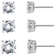 Sterling Silver Cubic Zirconia Earring Set