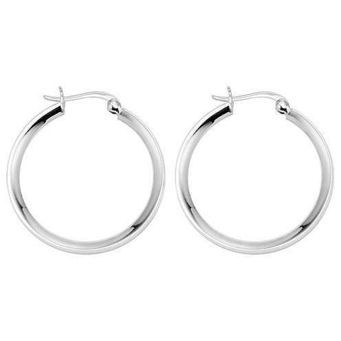 Polished Hoop Earrings Sterling Silver
