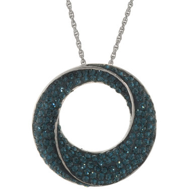 jcpenney.com | Blue Crystal Circle Pendant Necklace Sterling Silver