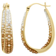 Ombré Crystal Gold Over Silver Hoop Earrings