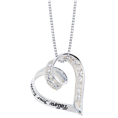 """Inspired Moments™ Sterling Silver """"Follow Your Heart"""" Pendant Necklace"""