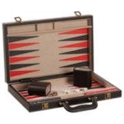 "15"" Black Leatherette Backgammon Game"