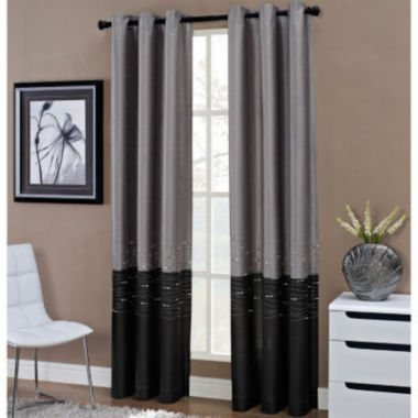jcpenney.com | Horizon Two-Tone Embroidered Grommet-Top Curtain Panel
