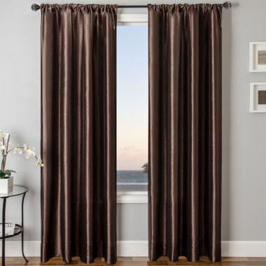 jcpenney.com | Sedro Solid Faux-Silk Rod-Pocket Curtain Panel