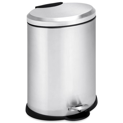 Honey-Can-Do® 12-Liter Oval Stainless Steel Step Trash Can