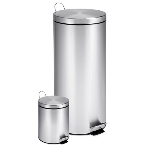 Honey-Can-Do® 30- and 3-Liter Stainless Steel Step Trash Can Combo