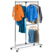 "Honey-Can-Do® 80"" Dual Bar Adjustable Garment Rack"
