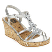 Total Girl® Macy Girls Wedge Sandals - Little Kids