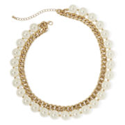 Mixit™ Gold-Tone 2-Row Simulated Pearl & Chunky Chain Bib Necklace