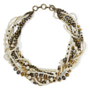 Mixit™ Simulated Pearl Mixed Metal 8-Row Twist Necklace