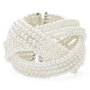Mixit™ Silver-Tone Simulated Pearl 4-Row Braided Cuff Bracelet