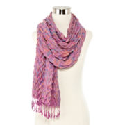 Pleated Oblong Scarf with Fringe