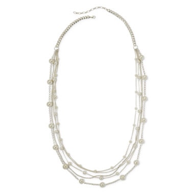 jcpenney.com | Vieste® Simulated Pearl Silver-Tone 5-Row Station Necklace