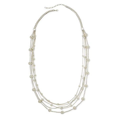 Vieste® Simulated Pearl Silver-Tone 5-Row Station Necklace