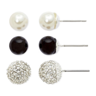 jcpenney.com | Vieste® Simulated Pearl, Fireball & Black 3-pr. Stud Earring Set