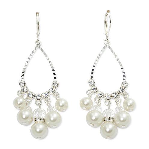 Vieste® Simulated Pearl & Crystal Teardrop Earrings