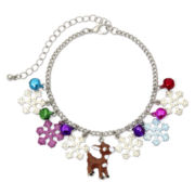 Silver-Tone Rudolph the Reindeer Christmas Charm Bracelet