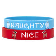 Naughty/Nice Rudolph the Reindeer Christmas Silicone 2-pc. Bracelet Set