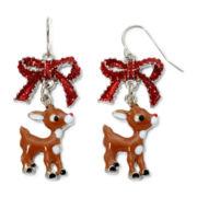 Silver-Tone Rudolph the Reindeer Christmas Drop Earrings