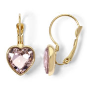 Monet® Gold-Tone Light Pink Heart Drop Earrings