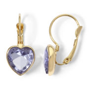 Monet® Gold-Tone Light Purple Heart Drop Earrings