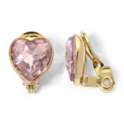 Monet® Gold-Tone Light Pink Heart Clip-On Earrings