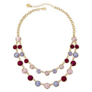 Monet® Gold-Tone Multicolor 2-Row Statement Necklace