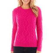 jcp™ Long-Sleeve Chunky Cable Sweater - Tall