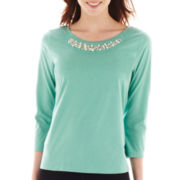 St. John's Bay® 3/4-Sleeve Necklace Tee - Tall