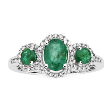 jcpenney.com | 1/6 CT. T.W. Diamond & Genuine Emerald 10K White Gold 3-Stone Ring