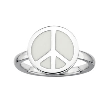 jcpenney.com | Personally Stackable Sterling Silver White Enamel Peace Ring
